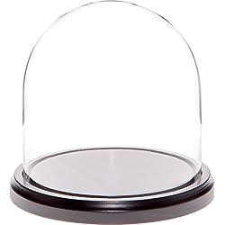 Plymor Brand 5.5 x 5.5 Glass Display Dome Cloche (Black Wood Base)