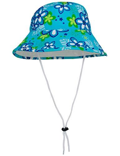 (Tuga Girls Reversible Bucket Sun Hat (UPF 50+), Aquamarine, Large)