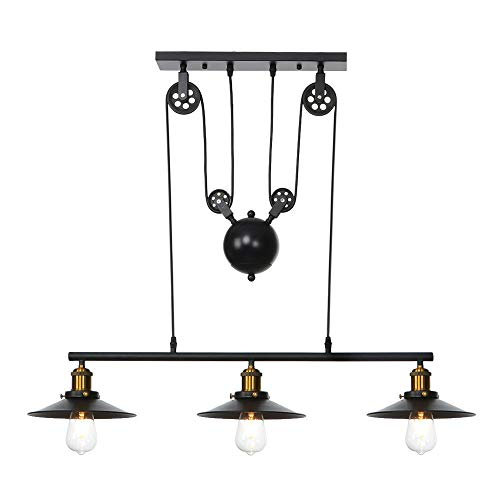 (Chranto lucky 7 !!Father's day Iron Hill Three-Light Celling Light Lndoor Lsland Pulley Pendant Chandelier Desc )