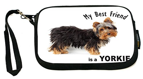 UKBK My Best Friend is a Yorkie Dog Neoprene Clutch Wristlet with Safety Closure - Ideal case for Camera, Universal Cell Phone Case (Round Dog Clutch)