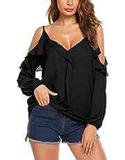 Parabler Damen Schulterfrei Chiffon Bluse V-Ausschnitt Cut Out Loose Fit Top T-Shirt EU 44 (Herstellergröße: XXL) Weiß