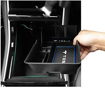 Model Y Insert ABS Black Materials Tray Armrest Box Secondary Storage CDEFG Car Armrest Console Organizer Tray Stowing Organizer Key Box for Tesla Model 3