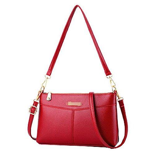 Borsa Tracolla Moda Tote Cerniera Pu Signora Pelle Red2 A Multicolor Con Delle Mini Crossbody Elegante Donne Aiyil wp8511
