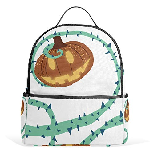 School Bag Halloween Pumpking With Thorn Vine Student backpack for Boys Teen Girls Kids ()