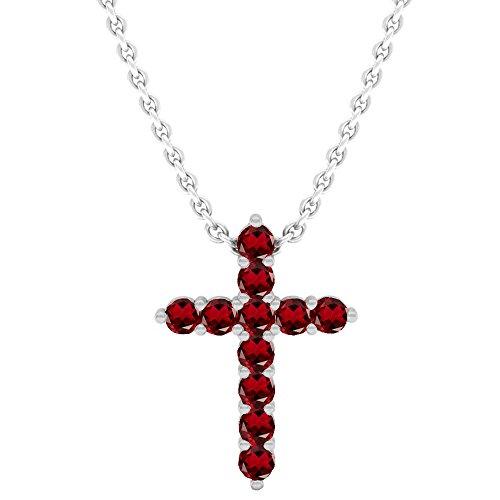 Dazzlingrock Collection 14K Round Garnet Ladies Cross Pendant (Silver Chain Included), White Gold 14k Garnet Cross Pendant