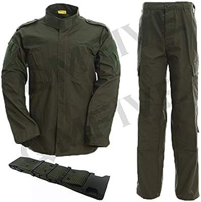 QMFIVE Uniformes tácticos Camuflaje Camo Camo Combat BDU Chaqueta Camisa y Pantalones Uniforme Juego de Guerra Ejército Paintball Militar Airsoft Caza Disparo Camo (S, OD): Amazon.es: Deportes y aire libre