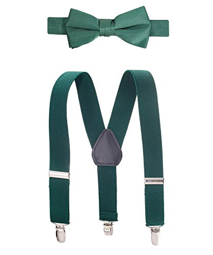 - Raylarnia Children Kids Suspenders Bowtie Set,Extra Sturdy Polished Silver Metal Clips,Adjustable Suspender with Bow Tie Set for Boys and Girls(one size, Dark green)