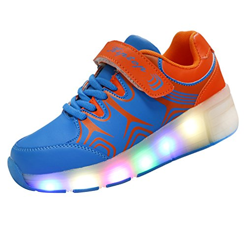 KIPTOP®Baskets Lumineuses clignotante Chaussures de Sport LED Heelys chaussures à roulettes avec 5 colorés led touché plus cool pour enfant