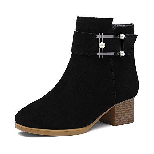 de botas mujeres y zapatos Las invierno algodón botas caliente punta negrita negro de de con botas 39 versátil Aemember HfFwFOqnt