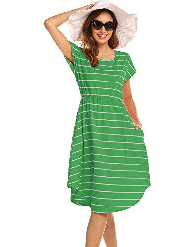 Halife Womens Crew Neck Cap Sleeve Summer Casual Flared Midi Dress Green,XL -