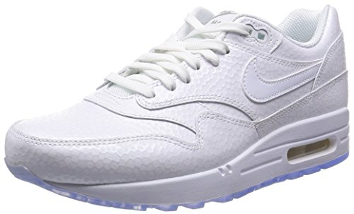 Nike Women's Air Max 1 Premium - White / Metallic Silver-White, 8 B US
