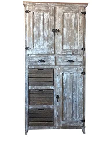 Amazon.com: Rustic Pantry Cabinet with Crates Cabinets ...