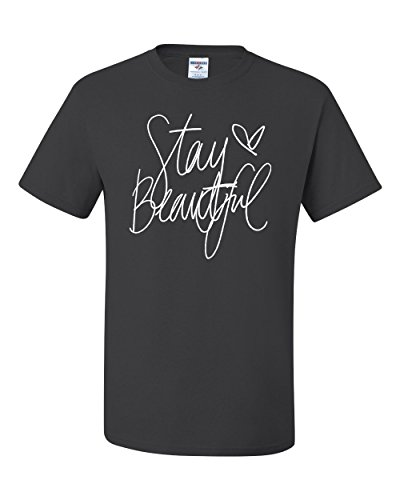 Stay Beautiful Lyric Song Fashion Tee Graphic Unisex T-Shirt - ( 4XL , Charcoal ) (Fun Halloween Song Lyrics)