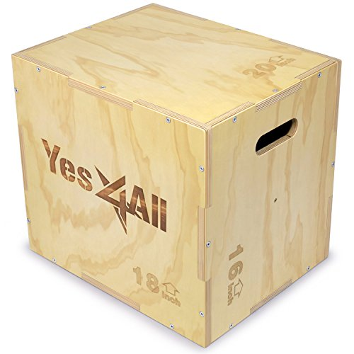 (Yes4All Wood Plyo Box/Wooden Plyo Box for Exercise, Crossfit Training, MMA, Plyometric Agility - 3 in 1 Plyo Box/Plyo Jump Box (20/18/16))