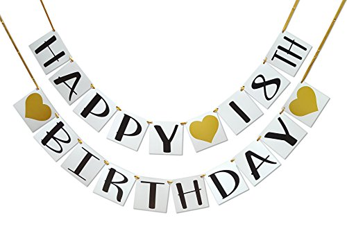 - Happy 18th Birthday Banner - Gold Hearts and Ribbon - Birthday Decorations