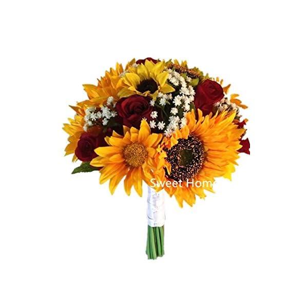 "Sweet Home Deco Silk Sunflower Rose Babysbreath Wedding Bouquet Bridal Bouquet Bridesmaid Bouquet Boutonnere in Yellow/Red (Yellow/Red-11""W Bouquet)"