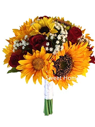 Sweet Home Deco Silk Sunflower Rose Babysbreath Wedding Bouquet Bridal Bouquet Bridesmaid Bouquet Boutonnere in Yellow/Red (Yellow/Red-11''W Bouquet) (Sweet Home Deco Rose)