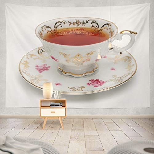 (KJONG Black Tea Antique Tea Cup White Tea Cup Antique Grey White Full English Saucer Teacup Vintage Flowers Black Tea Decorative Tapestry,50X60 Inches Wall Hanging Tapestry for Bedroom Living Room)