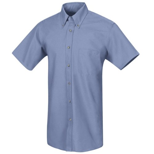 Button Down Stain Resistant Dress Shirt (Red Kap Men's RK Poplin Dress Shirt, Light Blue, SS XL)