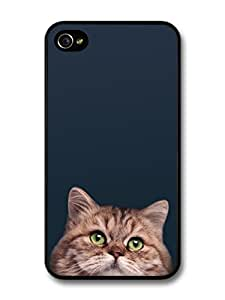AMAF ? Accessories Cute Cat With Green Eyes On Black Background case for iPhone 4 4S