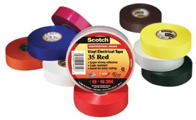 "3M Scotch 35 Polyvinyl Chloride Color Coding Electrical Tape, 0 to 221 Degree F, 1250V/mil Dielectric Strength, 20' Length x 1/2"" Width, Gray"