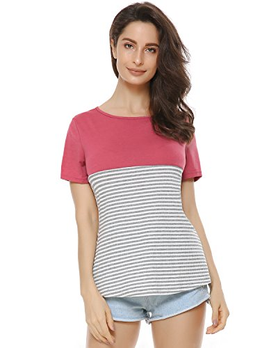 Mixfeer Women's Casual Short Sleeve Shirt Two Color Block Striped T-Shirt Round Neck Top Casual Blouse