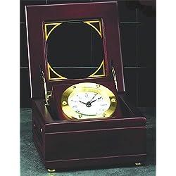 Brass Clock in Mahogany Box