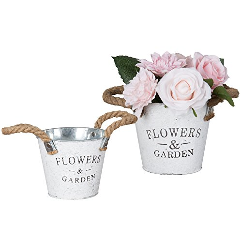 Cheap  Set of 2 Rustic White Metal Garden Pail Planters, Decorative Flower Pots..