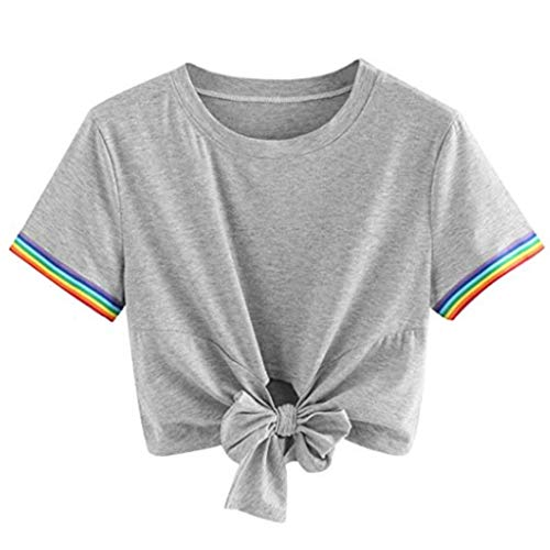 - Toimothcn Women Knot Crop Tops I Love You 3000 Times Letter Print Short Sleeve T-Shirt Casual Blouse for Girs(Gray1,XL)