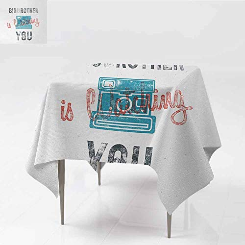 Square Table Cloth,Vintage Half Toned Big Brother Quote with Old-Fashion Analogue Camera Icon Book Web Print,High-end Durable Creative Home,60x60 Inch,Blue Grey