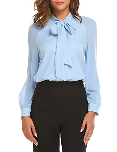 ACEVOG Women Business Bow Tie Neck Chiffon Blouses Long Sleeve Patchwork Casual Button Shirts Light Blue
