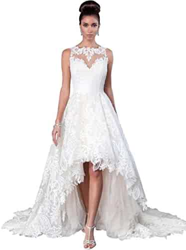d5622894e23 JoyVany Women Vintage 2019 Beach Summer Full Lace Applique High Low Wedding  Dresses JV554