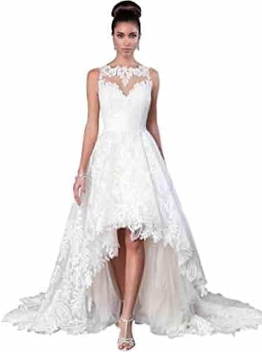 c1f3afcbb4d JoyVany Women Vintage 2019 Beach Summer Full Lace Applique High Low Wedding  Dresses JV554