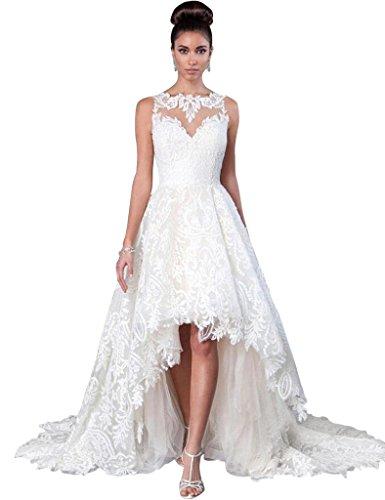 JoyVany Women Vintage 2019 Beach Summer Full Lace Applique High Low Wedding Dresses Ivory Size ()