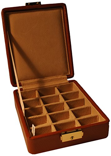 Budd Leather 15-Section Ring/Earring Box, Tan