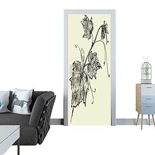 Anmaseven Automatic Door Sticker Grape Sketch 3D Door Sticker 35x83(90x210 cm)