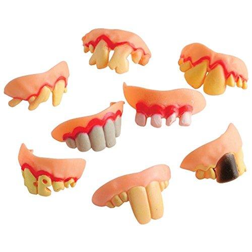 1 Dozen Goofy Ugly Funny Halloween Redneck Fake Prop Teeth-ECONOMY BRAND