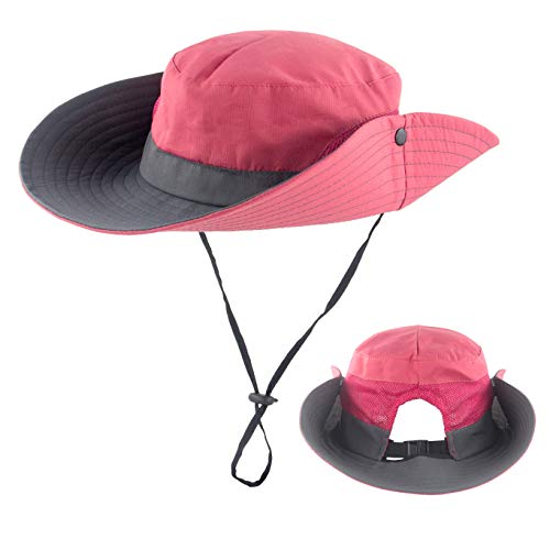 f623f757 Women Summer Sun Hat Wide Brim UV Protection Ponytail Bucket Cowboy Hats  for Beach Fishing Watermelon Red