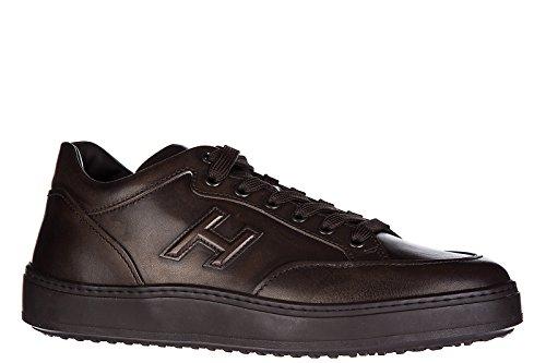 Hogan zapatos zapatillas de deporte hombres en piel nuevo h302 mid cut marrón