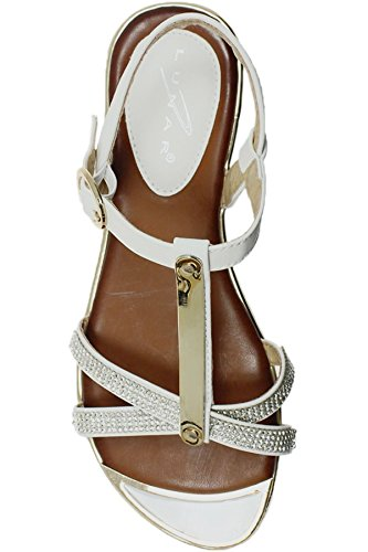 FANTASIA BOUTIQUE ® JLH831 Bindi Ladies Gold Plated Diamante Strappy Padded Low Heel Sandals White lPAbuN67