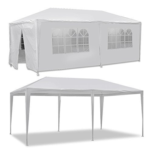 HomGarden Outdoor Gazebo Patio White Canopy Tent Camping Gazebo Storage Shelter Pavilion Cater for Party Wedding Events BBQ w/Removable Sidewalls (10' x 20') by HomGarden
