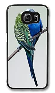 Samsung Galaxy S6 Case, Budgies Kissing High Quality Hard Shell Snap-on Case for Samsung Galaxy S6 Black Bumper