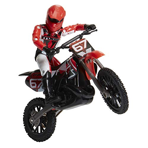 MXS Motocross Bike Toys Moto Extreme Sports, Bike & Rider with SFX Sounds by Jakks Pacific Action Figure Playsets – #67 Red & White Rider, for Kids Ages 5+