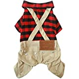 Dogloveit Cotton Plaid Shirt Style Overalls Jumpsuit Soft Autumn Dog Clothes For Cat Puppy Pet, Red, Small