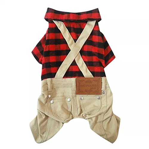 Dogloveit Cotton Plaid Shirt Style Overalls Jumpsuit Soft Autumn Dog Clothes For Cat Puppy Pet, Red, (Pomeranians Dressed Up For Halloween)