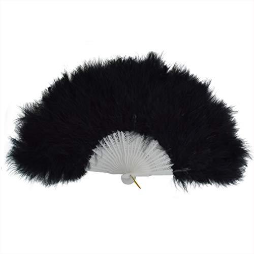 Wobe 20s Vintage Feather Fan Flapper Dance Roaring Gatsby Burlesque Handheld Marabou Feather Fan Flapper Accessories (Black)