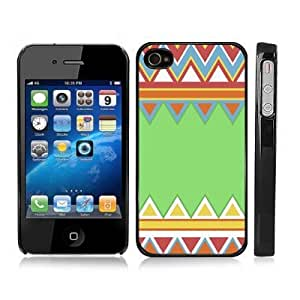 Colorful Aztec Pattern Chevron Zig Zag Snap-On Cover Hard Carrying Case for iPhone 4/4S (Black)