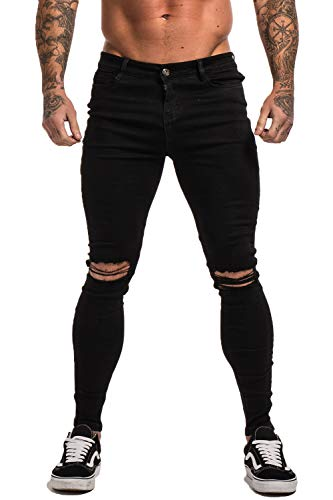 GINGTTO Men's Ripped Repaired Skinny Stretch Jeans 30 Black Repaired