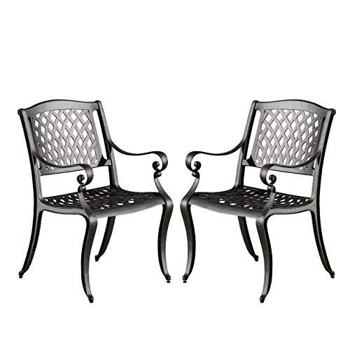 Cheap Christopher Knight Home 239070 Marietta Outdoor Cast Aluminum Dining Chairs, 2, Black