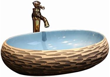 彫刻木目調のアートの上カウンター盆地オーバルセラミック洗面台、中国ヴィンテージカウンター盆地(59x40x15cm) P3/17